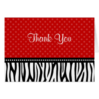 Red and Black Zebra Polka Dot Thank You Card