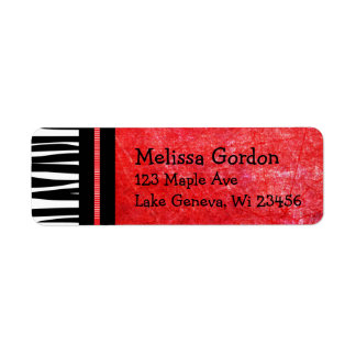 Red and Black Zebra Striped Bow  Return Address