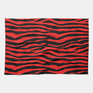 Red and Black Zebra Stripes Kitchen Towel