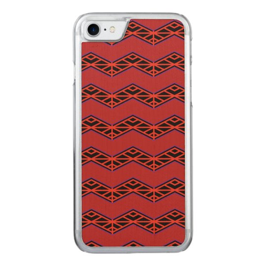 Red and Black Zigzag pattern Carved iPhone 7 Case