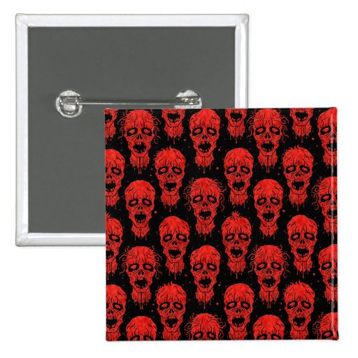 Red and Black Zombie Apocalypse Pattern Pin