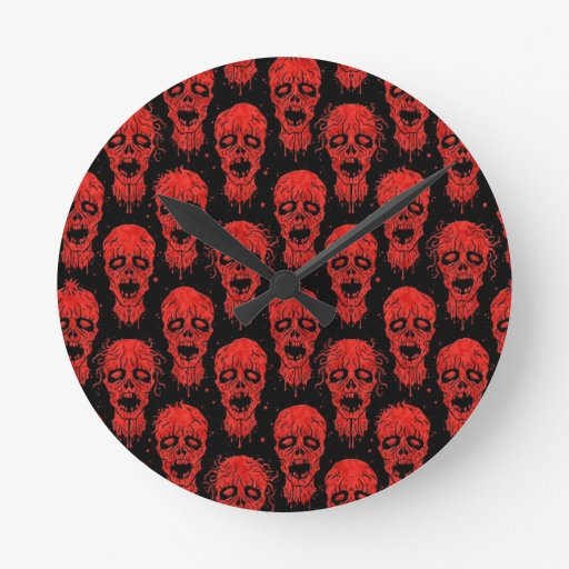 Red and Black Zombie Apocalypse Pattern Clock
