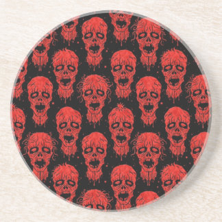 Red and Black Zombie Apocalypse Pattern Drink Coaster