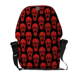 Red and Black Zombie Apocalypse Pattern Messenger Bag