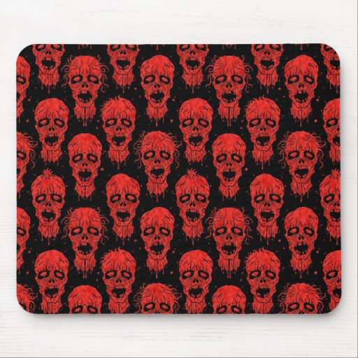 Red and Black Zombie Apocalypse Pattern Mouse Pads