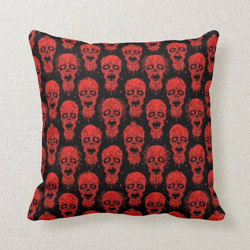 Red and Black Zombie Apocalypse Pattern Pillows