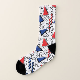 Red and Blue Abstract Memphis Design Socks