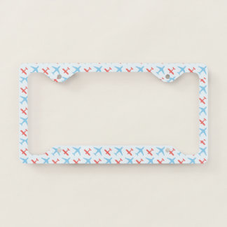 Red and Blue Airplanes. Travel Jetsetter. License Plate Frame
