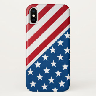 Red and Blue American Flag Pattern iPhone X Case
