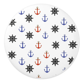 Red and Blue Anchor Nautical Themed Cabinet Knob