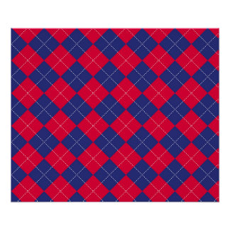Red and Blue Argyle Posters
