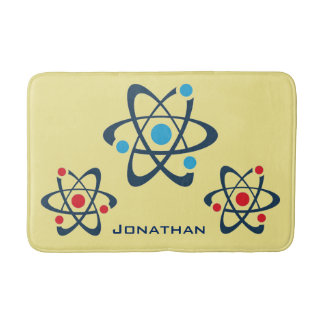 Red and Blue Atoms Science Design Bath Mat