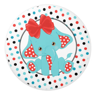 Red and Blue Baby Elephant Polka Dot Ceramic Knob