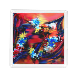 Red and Blue Brush Strokes Acrylic Tray