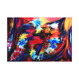 Red and Blue Brush Strokes Canvas Print