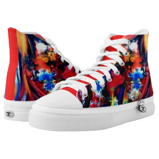 Red and Blue Brush Strokes High Tops