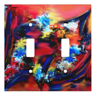 Red and Blue Brush Strokes Light Switch Cover