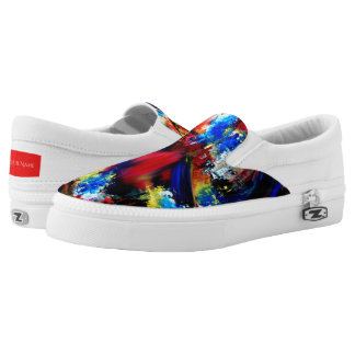 Red and Blue Brush Strokes Slip-On Sneakers