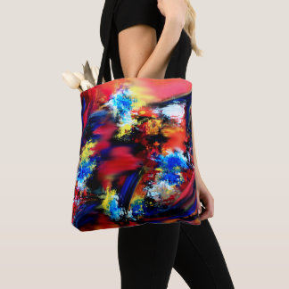 Red and Blue Brush Strokes Tote Bag