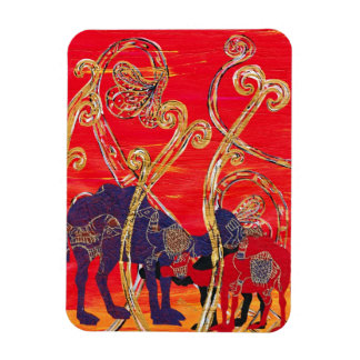 Red and Blue Camels Magnet