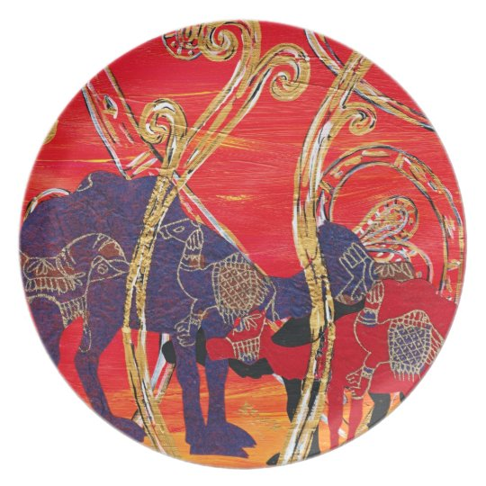 Red and Blue Camels Plate