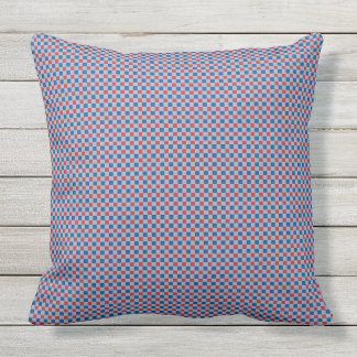 Red and blue check pattern outdoor pillow