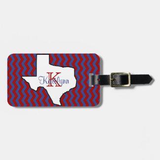 Red and Blue Chevron Texas Monogram Luggage Tag