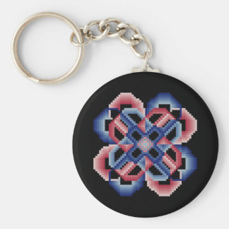Red and Blue Crazy Circles Keychain