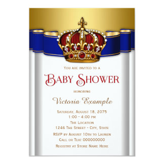 Red and Blue Crown Prince Baby Shower Card