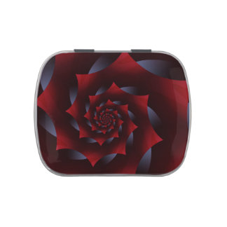 Red and Blue Dark Spiral Fractal Candy Tin