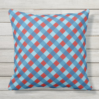 red and blue diagonal stripe pattern outdoor pillow