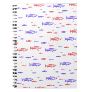 Red and Blue Fish Pattern 80 page notebook. Note Books