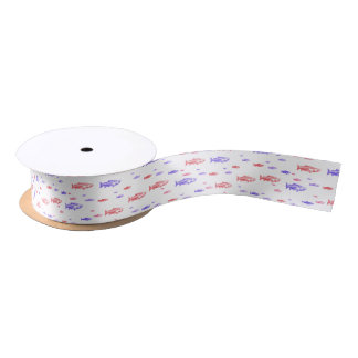 Red and Blue Fish pattern ribbon Satin Ribbon