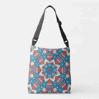 Red and Blue Floral Mandala Crossbody Bag