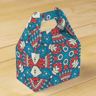 Red and Blue Floral Mandala Favor Box