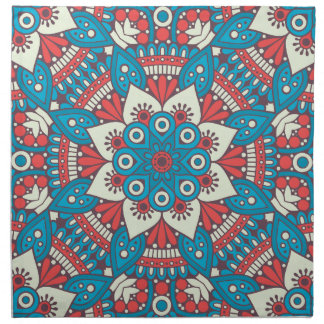 Red and Blue Floral Mandala Napkin