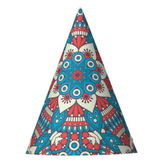 Red and Blue Floral Mandala Party Hat