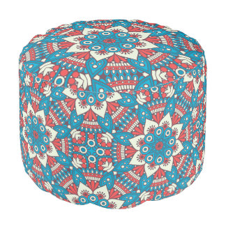 Red and Blue Floral Mandala Pouf