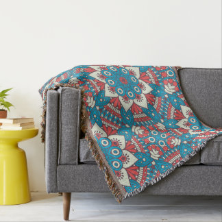 Red and Blue Floral Mandala Throw