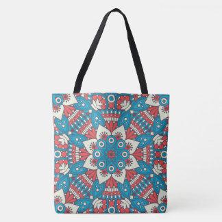 Red and Blue Floral Mandala Tote Bag