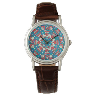 Red and Blue Floral Mandala Watch