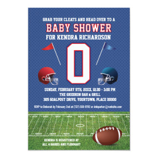 Red and Blue Football Baby Shower Card