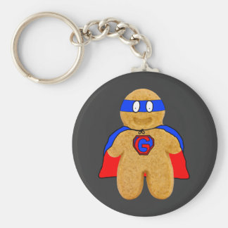 red and blue gingerbread man super hero key-chain key chain