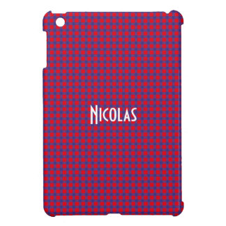 Red and Blue Gingham Pattern Personalized Name iPad Mini Cover