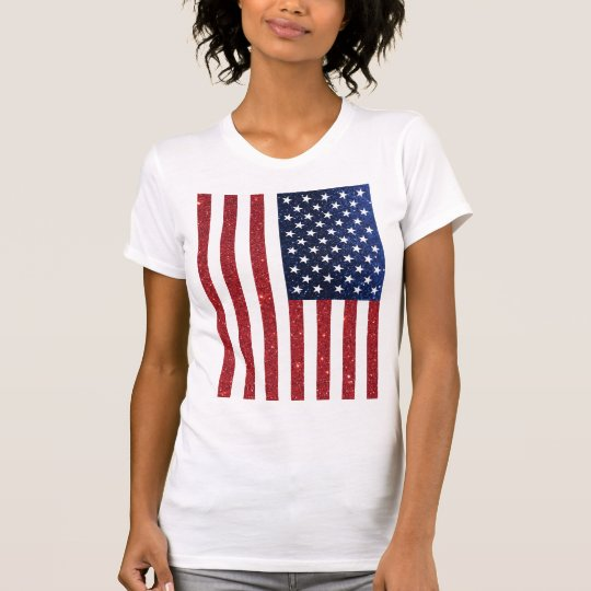 Red And Blue Glitter American Flag T-Shirts