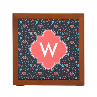 Red and Blue Hearts Pattern Desk Organizers