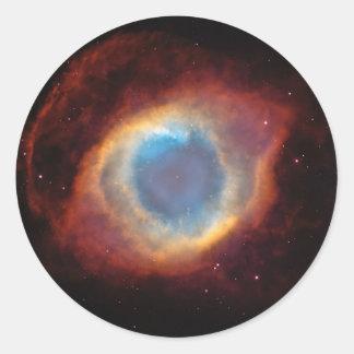 Red and Blue Helix Nebula NGC 7293 Planetary Fog Round Sticker