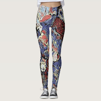 Red and Blue Hollyhocks Leggings