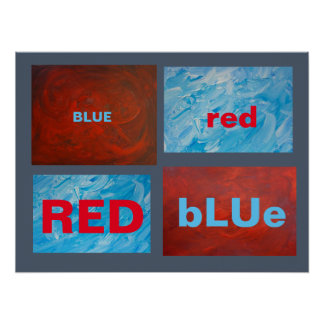 Red and Blue Improv Abstract Art Poster