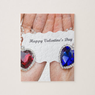 Red and blue jewelry heart with valentine card jigsaw puzzle